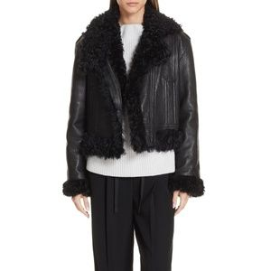 Vince Leather & Genuine Shearling Moto Fill Jacket